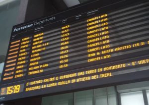 Cancelled Trains during a strike in Rome